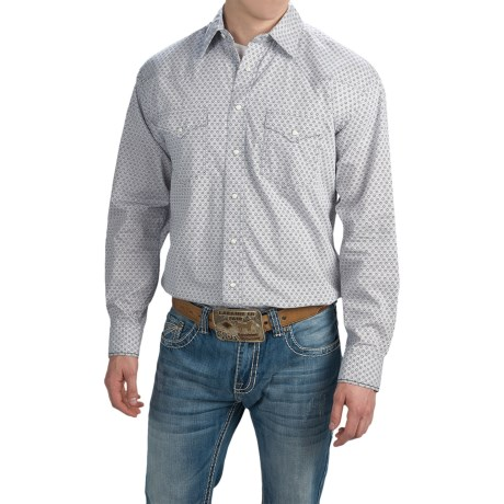 Panhandle Slim Print Shirt Snap Front, Long Sleeve (For Men)