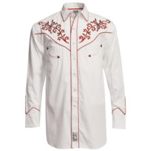 Panhandle Slim Red Hot Floral Embroidered Shirt - Pearl Snaps, Long Sleeve (For Men) in White/Red - Closeouts
