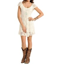 Panhandle Slim Red Label Stretch Lace Dress - Short Sleeve (For Women) in Cream - Overstock