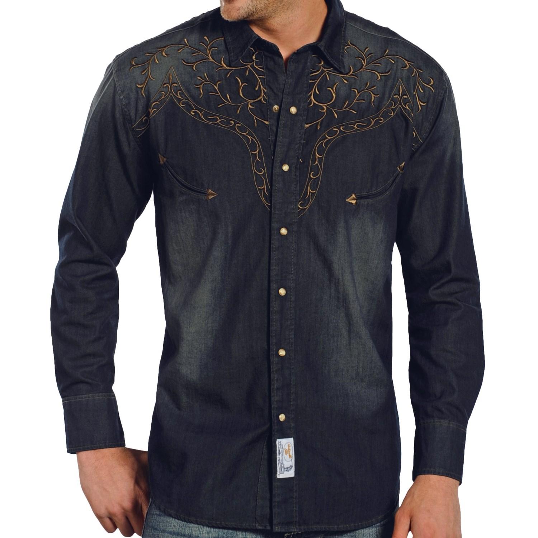 Panhandle Slim Retro Blue Lightning Denim Shirt For Men