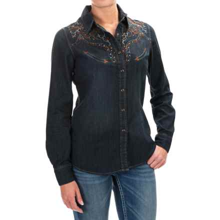 Panhandle Slim Retro Copper Canyon Western Shirt - Snap Front, Long Sleeve (For Women) in Dark Denim - Closeouts