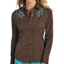Panhandle Slim Retro Embroidered Shirt - Snap Front, Long Sleeve (For Women) in Brown - Closeouts