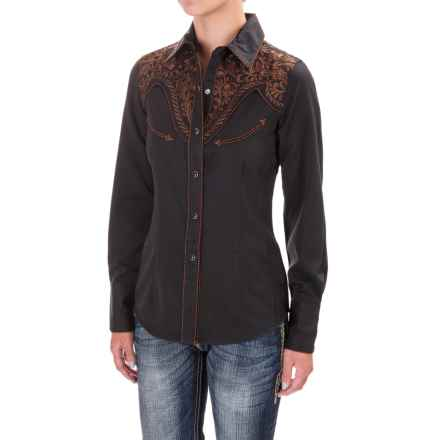 Panhandle Slim Retro Embroidered Western Shirt - Snap Front (For Women) in Black - Closeouts