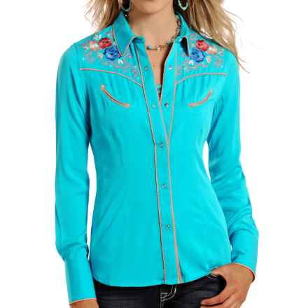 Panhandle Slim Retro Embroidered Western Shirt - Snap Front, Long Sleeve (For Women) in Bright Turquoise - Closeouts