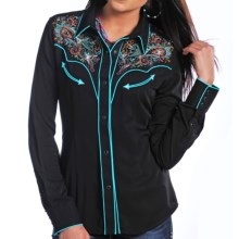Panhandle Slim Retro Paisley Embroidered Shirt - Snap Front, Long Sleeve (For Women) in Black - Closeouts