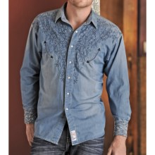 Panhandle Slim Retro Perfectly Chambray Embroidered Shirt - Snap Front, Long Sleeve (For Men) in Denim - Closeouts
