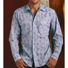 Panhandle Slim Retro Print Cowboy Shirt - Long Sleeve (For Men) in Blue - Closeouts
