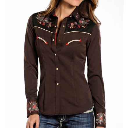 Panhandle Slim Retro Rio Vista Floral Shirt - Snap Front, Long Sleeve (For Women) in Brown - Closeouts