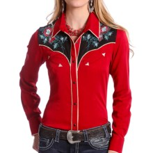 Panhandle Slim Retro Two-Tone Shirt - Snap Front, Long Sleeve (For Women) in Birght Red - Overstock