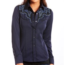 Panhandle Slim Retro Two-Tone Shirt - Snap Front, Long Sleeve (For Women) in Navy - Closeouts