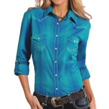 Panhandle Slim Rough Stock Plaid Shirt - Snap Front, Long Sleeve (For Women) in Turquoise - Closeouts