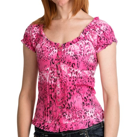 Panhandle Slim Ruffled Peasant Shirt - Corset Back, Scoop Neck, Short Sleeve (For Women) in Hot Pink