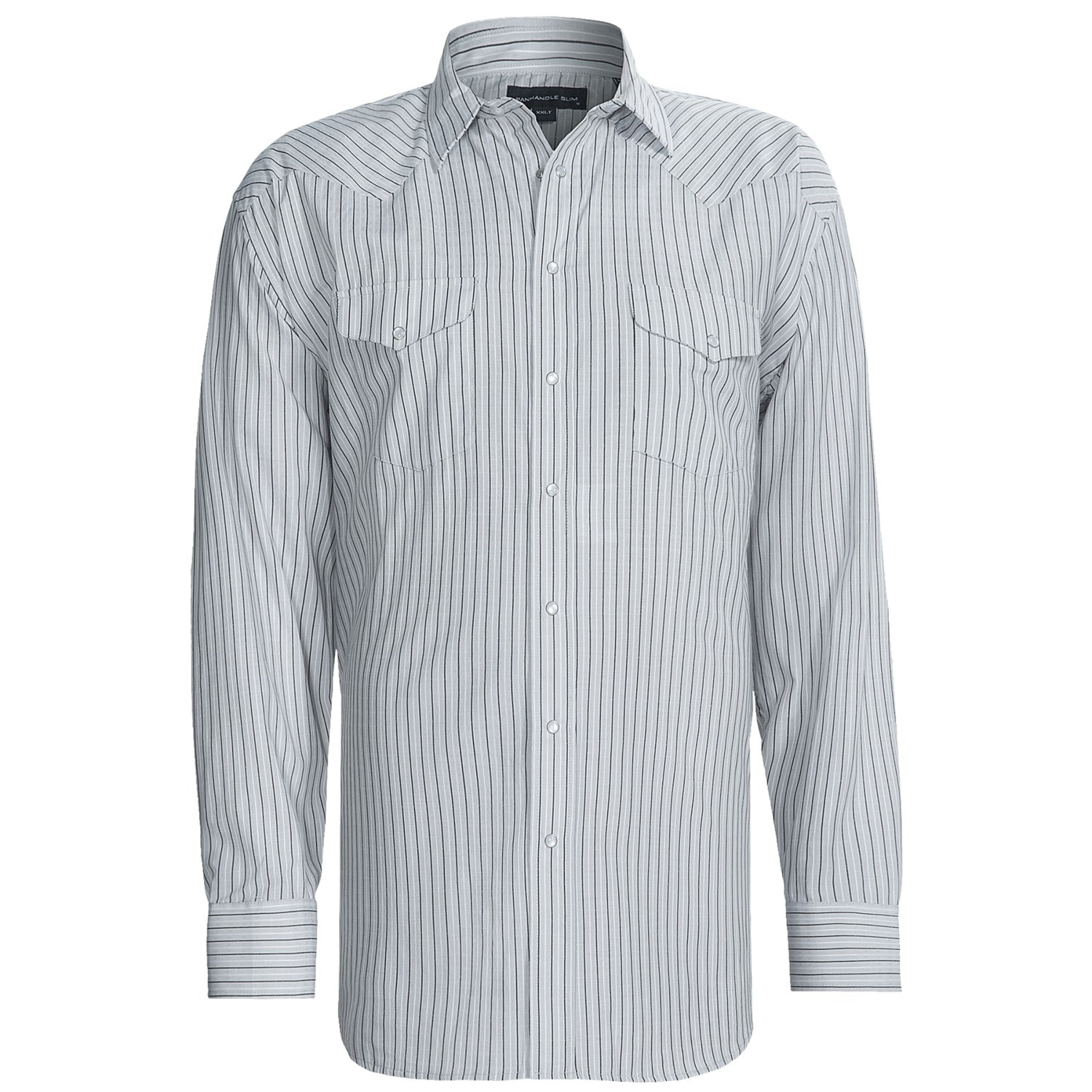 Panhandle slim satin stripe dress shirt snap front long for Slim and tall shirts