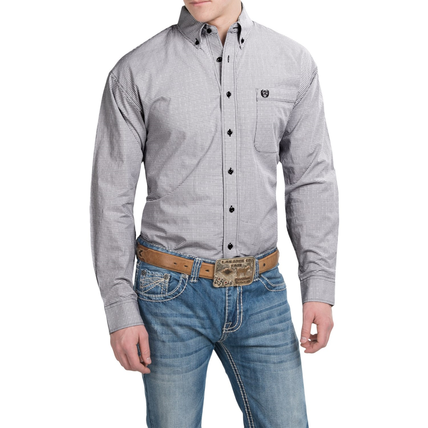 Panhandle slim select dobby check shirt for men and tall for Slim and tall shirts