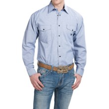 Panhandle Slim Select Dobby Check Western Shirt - Snap Front, Long Sleeve (For Men) in Navy - Closeouts