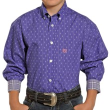 Panhandle Slim Select Mini-Plaid Shirt - Button-Down, Long Sleeve (For Boys) in Purple - Closeouts
