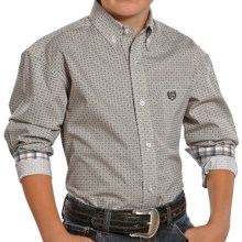 Panhandle Slim Select Mini-Plaid Shirt - Button-Down, Long Sleeve (For Boys) in Taupe - Closeouts