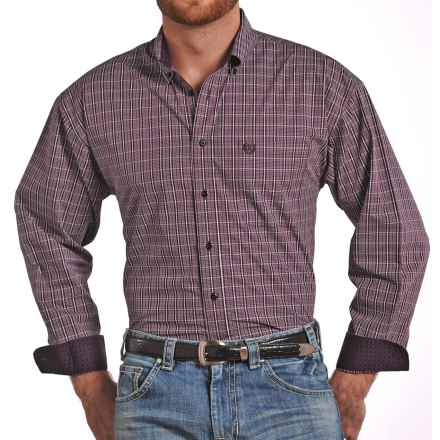 Panhandle Slim Select Peached Poplin Check Shirt - Long Sleeve (For Men) in Aubergine - Closeouts
