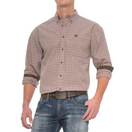 Panhandle Slim Select Peached Poplin Check Shirt - Long Sleeve (For Men) in Brown/Dark Brown - Closeouts