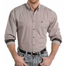 Panhandle Slim Select Peached Poplin Check Shirt - Long Sleeve (For Men) in Brown - Closeouts