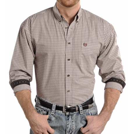 Panhandle Slim Select Peached Poplin Check Shirt Long Sleeve (For Men)