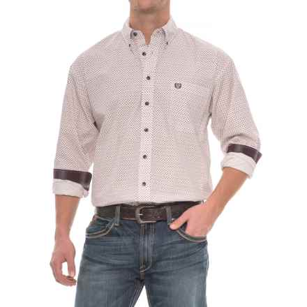 Panhandle Slim Select Peached Poplin Check Shirt - Long Sleeve (For Men) in Burgandy - Closeouts