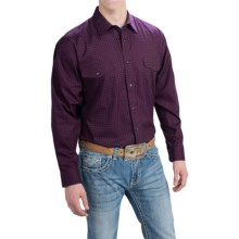 Panhandle Slim Select Peached Poplin Print Shirt - Long Sleeve (For Men and Tall Men) in Aubergine - Closeouts