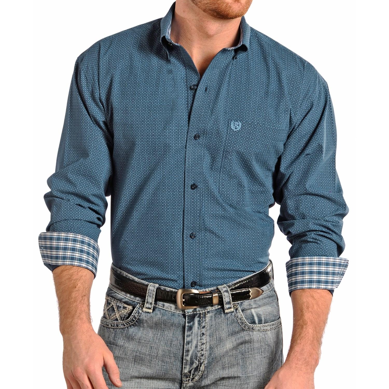 Panhandle Slim Select Peached Poplin Print Shirt For Men