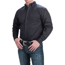 Panhandle Slim Select Peached Poplin Print Shirt - Long Sleeve (For Men and Tall Men) in Charcoal - Closeouts