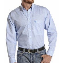 Panhandle Slim Select Peached Poplin Print Shirt - Long Sleeve (For Men and Tall Men) in Pale Blue - Closeouts