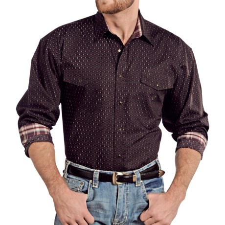 Panhandle Slim Select Peached Poplin Print Shirt - Snap Front, Long Sleeve (For Men) in Aubergine
