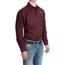 Panhandle Slim Select Peached Poplin Print Shirt - Snap Front, Long Sleeve (For Men) in Cayenne - Closeouts