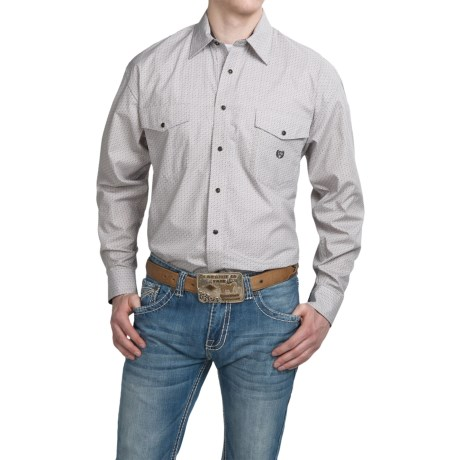 Panhandle Slim Select Peached Poplin Print Shirt Snap Front, Long Sleeve (For Men)