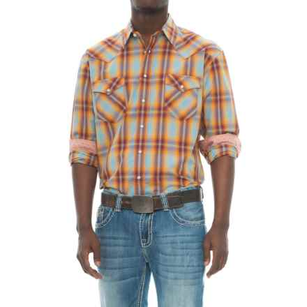 Panhandle Slim Silk-Blend Western Shirt - Snap Front, Long Sleeve (For Men) in Orange/Blue - Closeouts