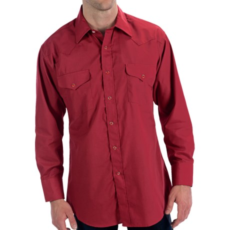 Panhandle Slim Solid Snap Shirt - Long Sleeve (For Men) in Red