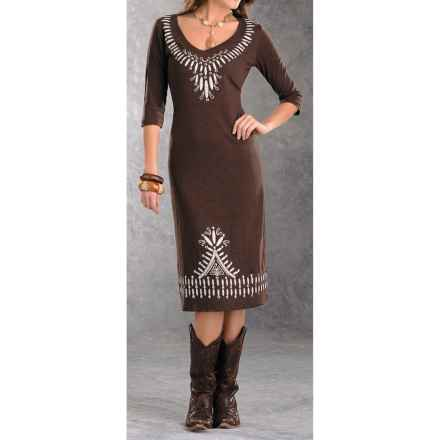 Panhandle Slim Tribal Dress - V-Neck, Slub Cotton, 3/4 Sleeve (For Women) in Brown - Closeouts