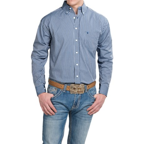 Panhandle Slim Tuf Cooper Competition Fit Dobby Plaid Shirt Button Front, Long Sleeve (For Men)