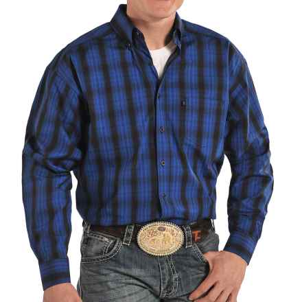 Panhandle Slim Tuf Cooper Competition Fit Plaid Western Shirt - Button Front, Long Sleeve (For Men) in Blue - Closeouts