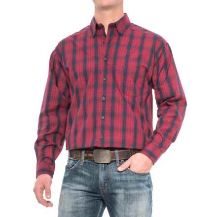 Panhandle Slim Tuf Cooper Competition Fit Poplin Shirt - Button Front, Long Sleeve (For Men) in Blue/Red - Closeouts