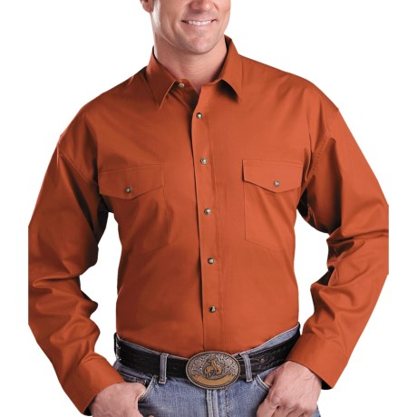 Panhandle Slim Twill Snap Shirt - Long Sleeve (For Men) in Rust