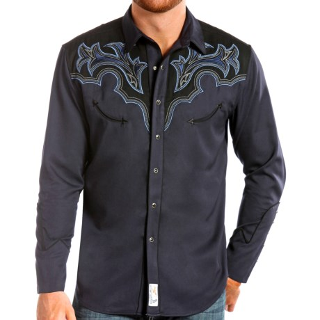 Panhandle Slim Two Tone Retro Western Shirt Snap Front, Long Sleeve (For Men)