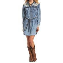 Panhandle Slim White Label Chambray Dress - Long Sleeve (For Women) in Pale Blue - Overstock
