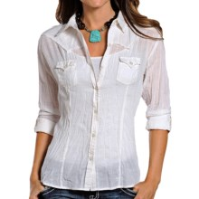Panhandle Slim White Label Crinkle Finish Cotton, Roll-Up Long Sleeve (For Women) in White - Closeouts