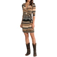 Panhandle Slim White Label Ombre Wrap Dress - 3/4 Sleeve (For Women) in Taupe - Overstock