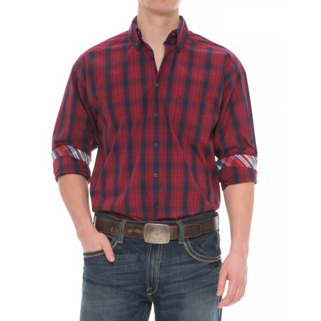 Panhandle Tuf Cooper Performance Plaid Shirt - Button Front, Long Sleeve (For Men) in Red/Blue