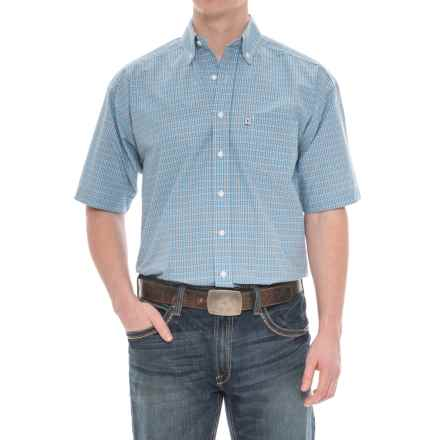 Panhandle Tuf Cooper Performance Plaid Shirt - Button Front, Short Sleeve (For Men) in Blue - Overstock