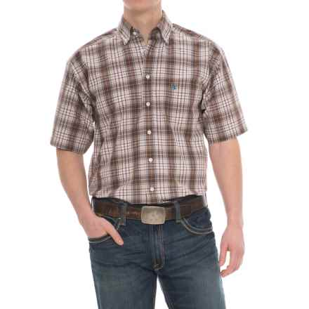 Panhandle Tuf Cooper Performance Plaid Shirt - Button Front, Short Sleeve (For Men) in Brown/Tan - Overstock
