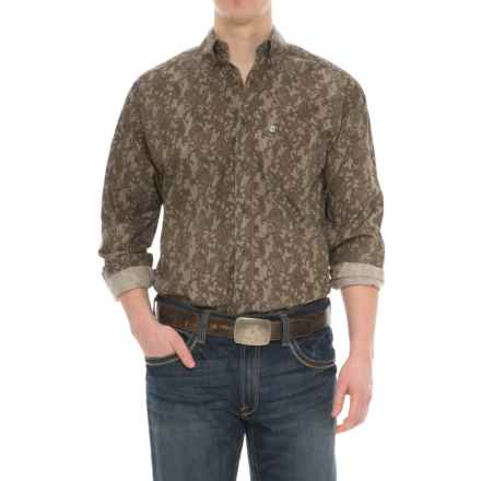 Panhandle Tuf Cooper Performance Poplin Print Shirt - Cotton, Long Sleeve (For Men) in Brown - Overstock
