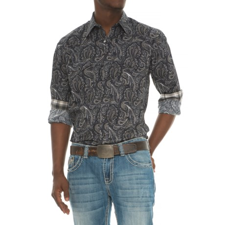Panhandle Vintage Paisley Print Western Shirt - Snap Front, Long Sleeve (For Men) in Black/Tan Multi