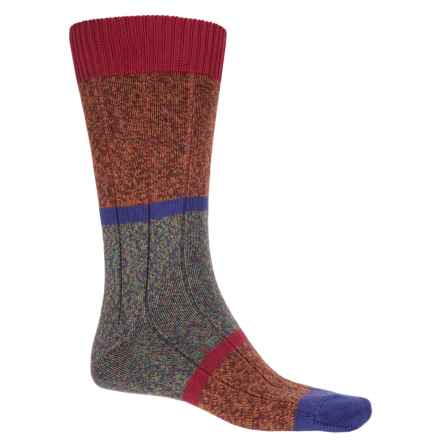 Pantherella Boultham Block Stripe Socks - Mid Calf (For Men) in Orange - Closeouts
